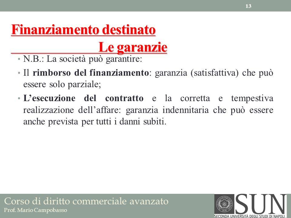 Finanziamento destinato Le garanzie N.B.: La società può garantire: Il rimborso del finanziamento: garanzia (satisfattiva) che può essere solo parzial