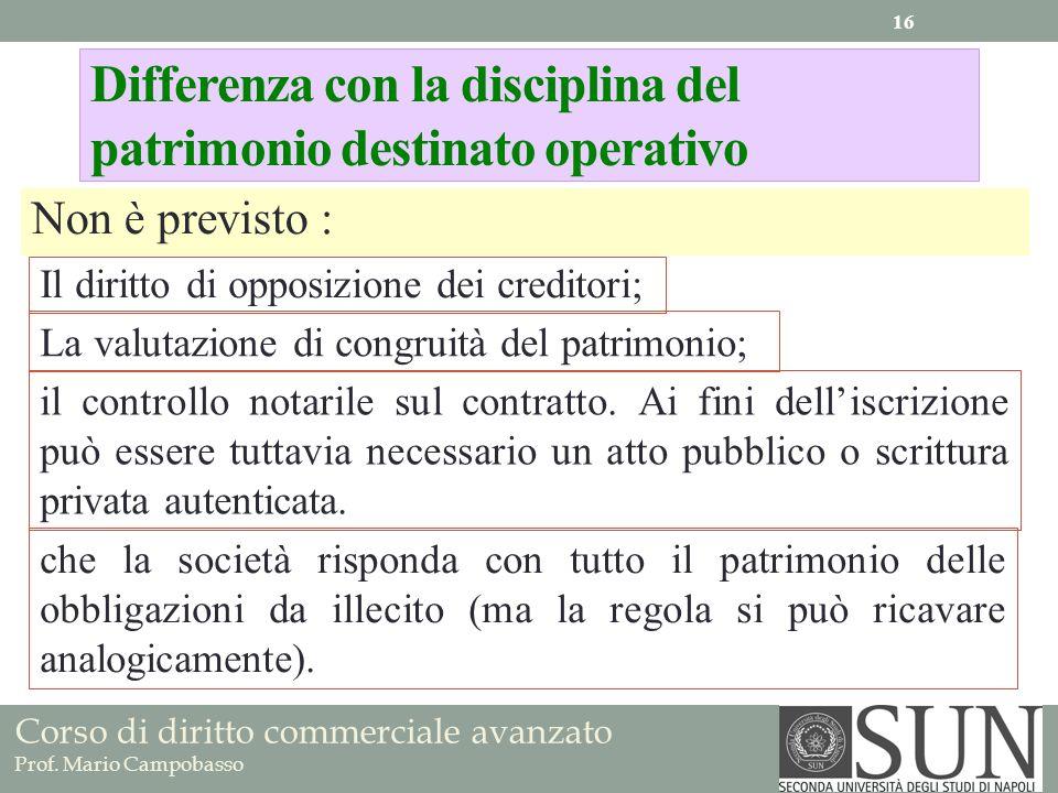 Differenza con la disciplina del patrimonio destinato operativo Non è previsto : La valutazione di congruità del patrimonio; Il diritto di opposizione