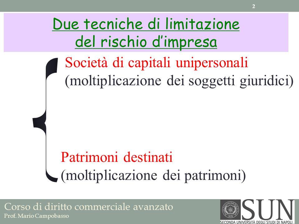 Due tecniche di limitazione del rischio dimpresa Società di capitali unipersonali (moltiplicazione dei soggetti giuridici) Patrimoni destinati (moltip