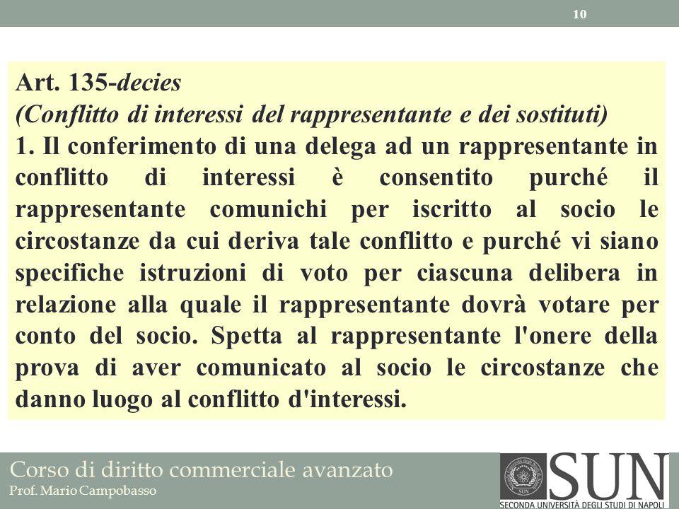 Corso di diritto commerciale avanzato Prof. Mario Campobasso Art. 135-decies (Conflitto di interessi del rappresentante e dei sostituti) 1. Il conferi