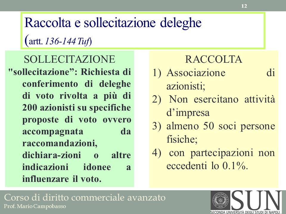 Corso di diritto commerciale avanzato Prof. Mario Campobasso Raccolta e sollecitazione deleghe ( artt. 136-144 Tuf) SOLLECITAZIONE