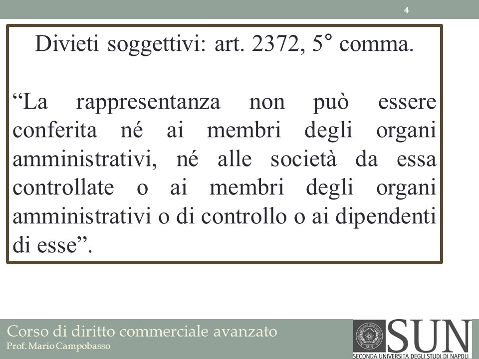 Corso di diritto commerciale avanzato Prof. Mario Campobasso Divieti soggettivi: art. 2372, 5° comma. La rappresentanza non può essere conferita né ai