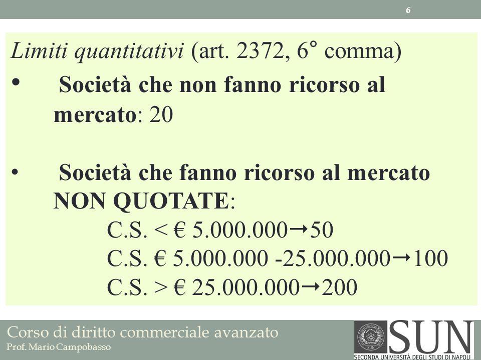 Corso di diritto commerciale avanzato Prof. Mario Campobasso Limiti quantitativi (art. 2372, 6° comma) Società che non fanno ricorso al mercato: 20 So
