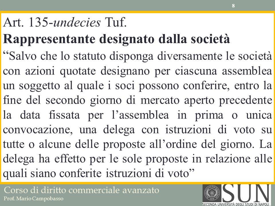 Corso di diritto commerciale avanzato Prof. Mario Campobasso Art. 135-undecies Tuf. Rappresentante designato dalla società Salvo che lo statuto dispon