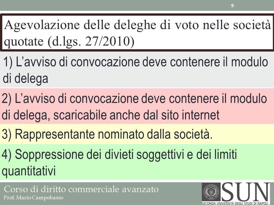 Corso di diritto commerciale avanzato Prof. Mario Campobasso Agevolazione delle deleghe di voto nelle società quotate (d.lgs. 27/2010) 1) Lavviso di c