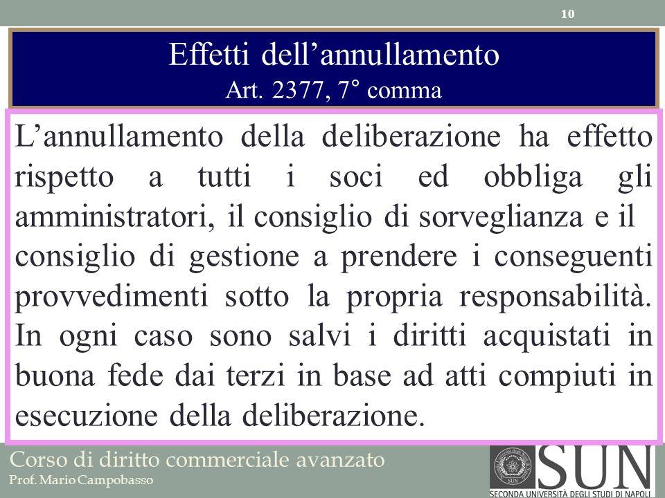 Corso di diritto commerciale avanzato Prof. Mario Campobasso Effetti dellannullamento Art. 2377, 7° comma Lannullamento della deliberazione ha effetto