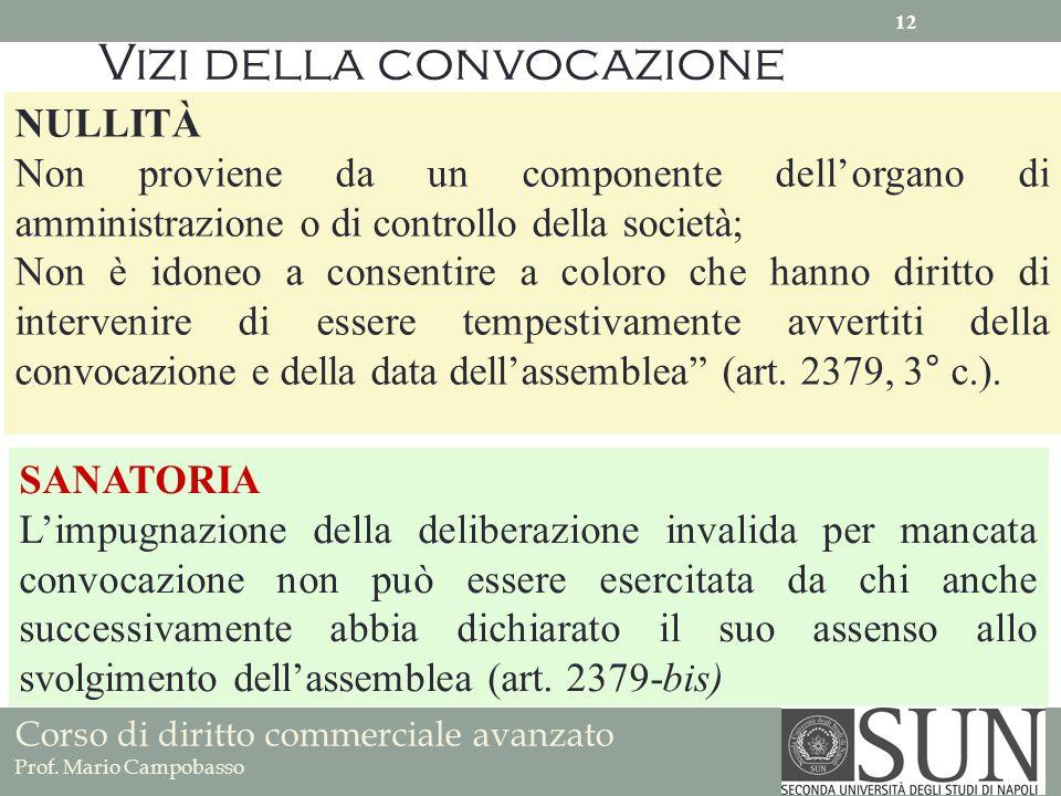 Corso di diritto commerciale avanzato Prof. Mario Campobasso Vizi della convocazione NULLITÀ Non proviene da un componente dellorgano di amministrazio