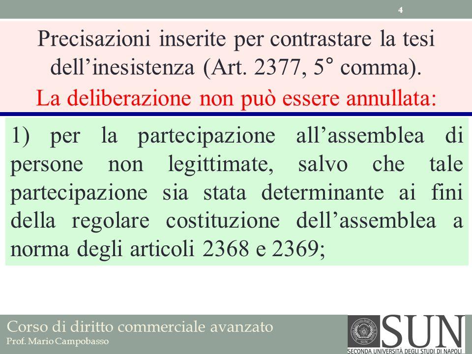 Corso di diritto commerciale avanzato Prof. Mario Campobasso Precisazioni inserite per contrastare la tesi dellinesistenza (Art. 2377, 5° comma). La d