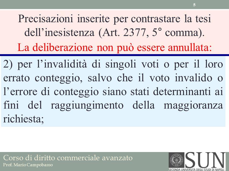 Corso di diritto commerciale avanzato Prof. Mario Campobasso 2) per linvalidità di singoli voti o per il loro errato conteggio, salvo che il voto inva