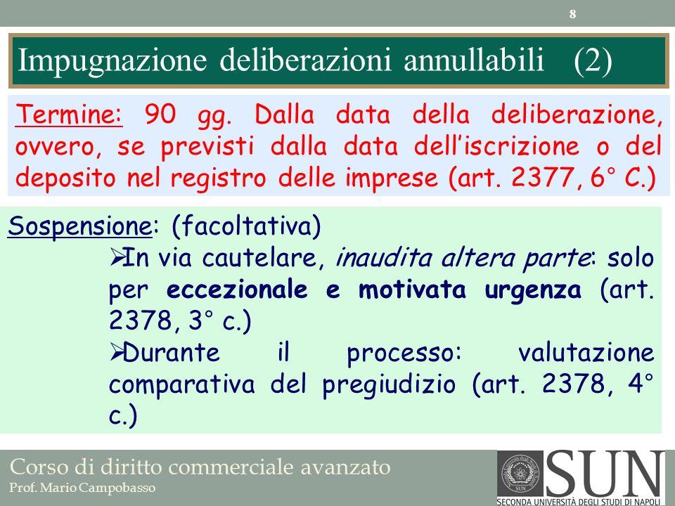 Corso di diritto commerciale avanzato Prof. Mario Campobasso Impugnazione deliberazioni annullabili (2) Termine: 90 gg. Dalla data della deliberazione