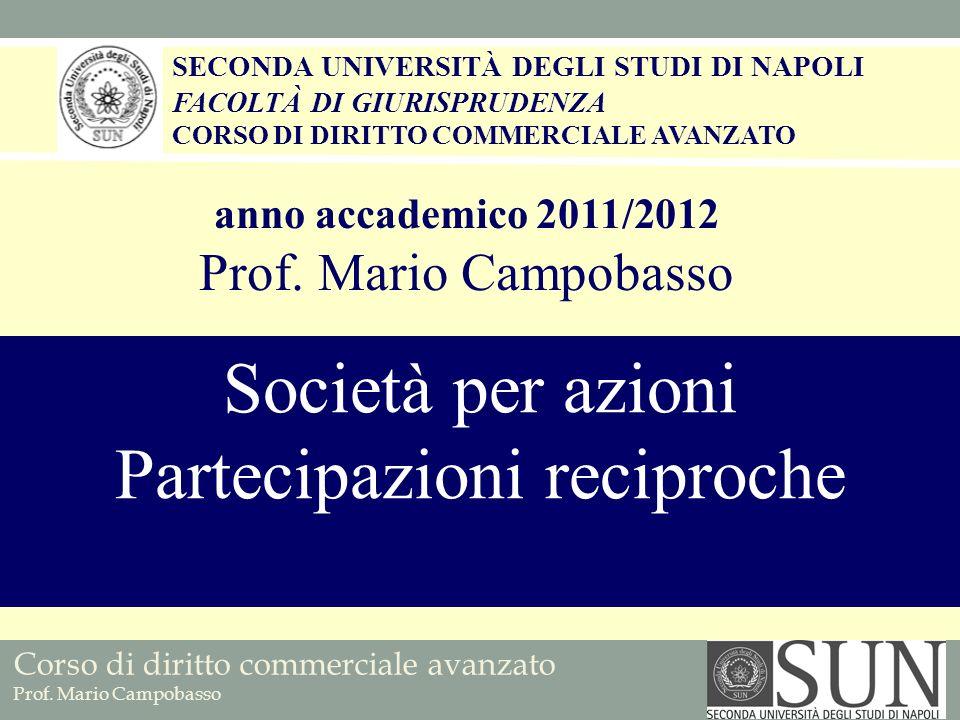 Corso di diritto commerciale avanzato Prof.Mario Campobasso SOTTOSCRIZIONE RECIPROCA (art.