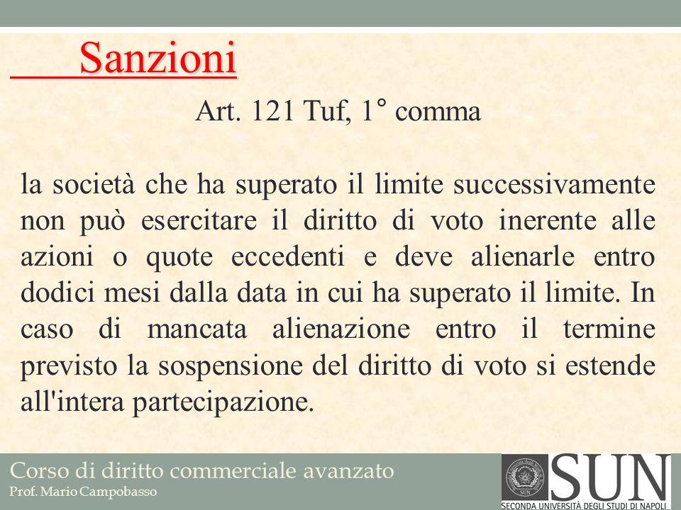Corso di diritto commerciale avanzato Prof. Mario Campobasso Art. 121 Tuf, 1° comma la società che ha superato il limite successivamente non può eserc
