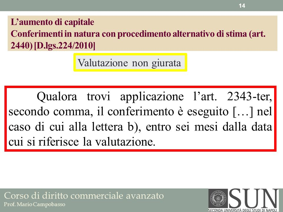 Corso di diritto commerciale avanzato Prof. Mario Campobasso Qualora trovi applicazione lart. 2343-ter, secondo comma, il conferimento è eseguito […]