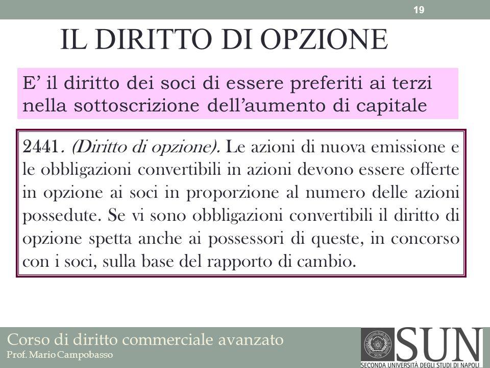 Corso di diritto commerciale avanzato Prof. Mario Campobasso IL DIRITTO DI OPZIONE E il diritto dei soci di essere preferiti ai terzi nella sottoscriz