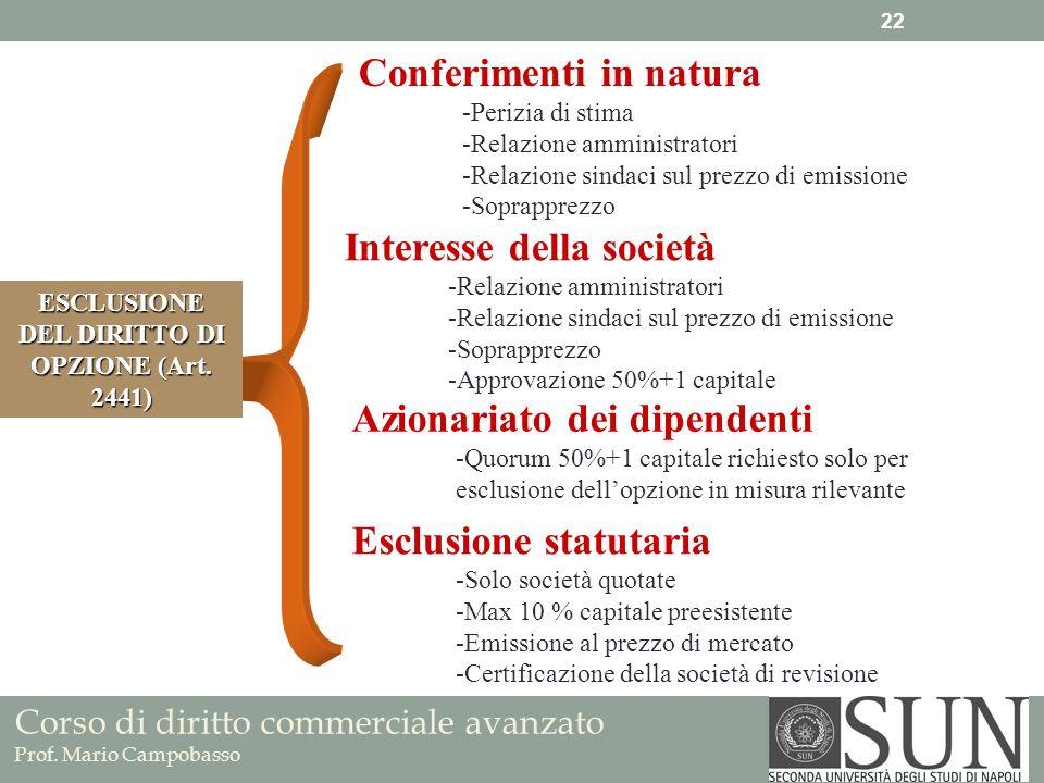Corso di diritto commerciale avanzato Prof. Mario Campobasso Conferimenti in natura -Perizia di stima -Relazione amministratori -Relazione sindaci sul