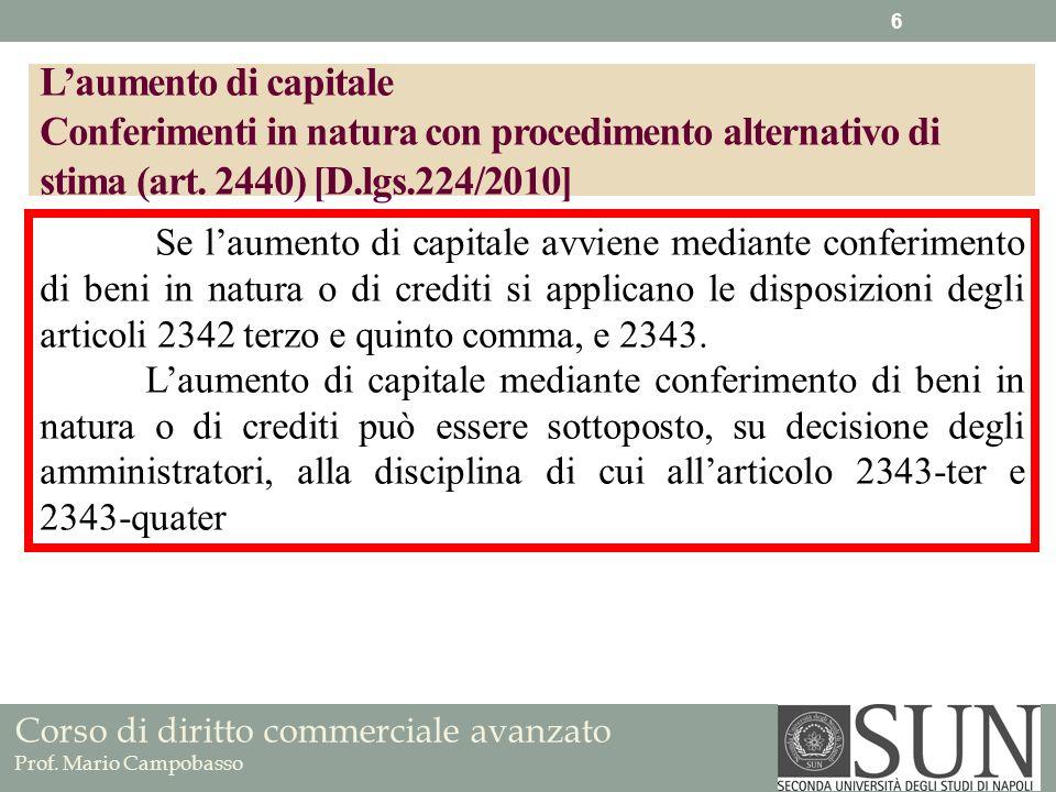 Corso di diritto commerciale avanzato Prof. Mario Campobasso Laumento di capitale Conferimenti in natura con procedimento alternativo di stima (art. 2
