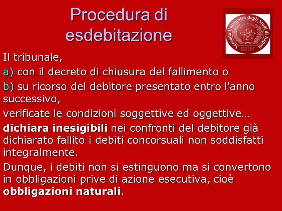 Procedura di esdebitazione Il tribunale, a) con il decreto di chiusura del fallimento o b) su ricorso del debitore presentato entro l'anno successivo,