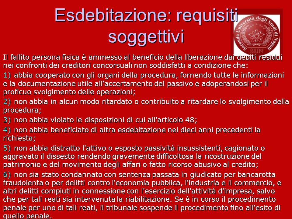 Esdebitazione: requisiti soggettivi Il fallito persona fisica è ammesso al beneficio della liberazione dai debiti residui nei confronti dei creditori