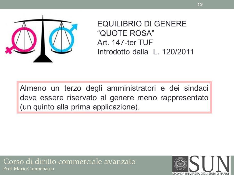 Corso di diritto commerciale avanzato Prof. Mario Campobasso 12 EQUILIBRIO DI GENERE QUOTE ROSA Art. 147-ter TUF Introdotto dalla L. 120/2011 Almeno u