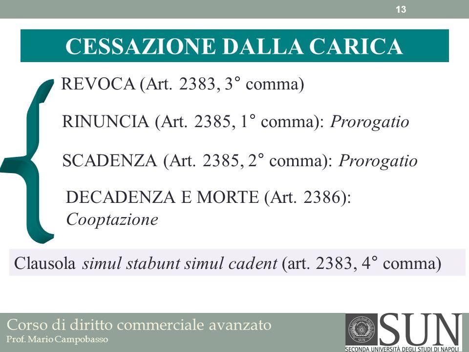 Corso di diritto commerciale avanzato Prof. Mario Campobasso REVOCA (Art. 2383, 3° comma) CESSAZIONE DALLA CARICA RINUNCIA (Art. 2385, 1° comma): Pror