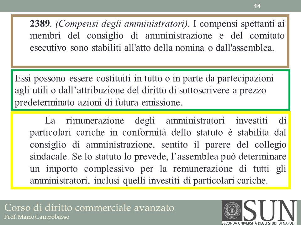 Corso di diritto commerciale avanzato Prof. Mario Campobasso 2389. (Compensi degli amministratori). I compensi spettanti ai membri del consiglio di am