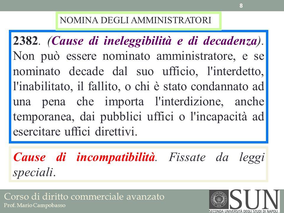 Corso di diritto commerciale avanzato Prof.Mario Campobasso Requisiti amministratori 2387.