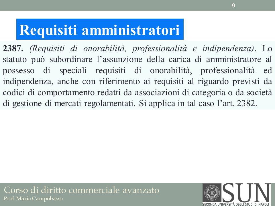 Corso di diritto commerciale avanzato Prof. Mario Campobasso Requisiti amministratori 2387. (Requisiti di onorabilità, professionalità e indipendenza)