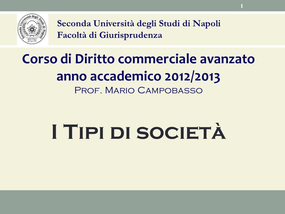 Seconda Università degli Studi di Napoli Facoltà di Giurisprudenza Corso di Diritto commerciale avanzato anno accademico 2012/2013 Prof. Mario Campoba