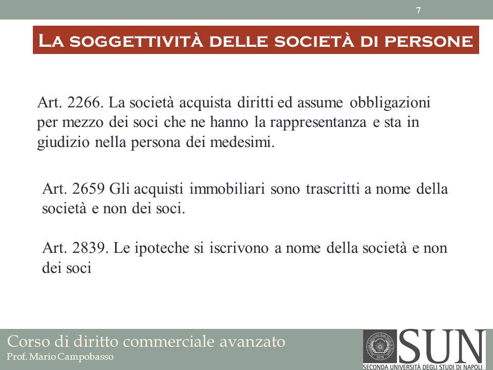 La soggettività delle società di persone Art. 2266. La società acquista diritti ed assume obbligazioni per mezzo dei soci che ne hanno la rappresentan