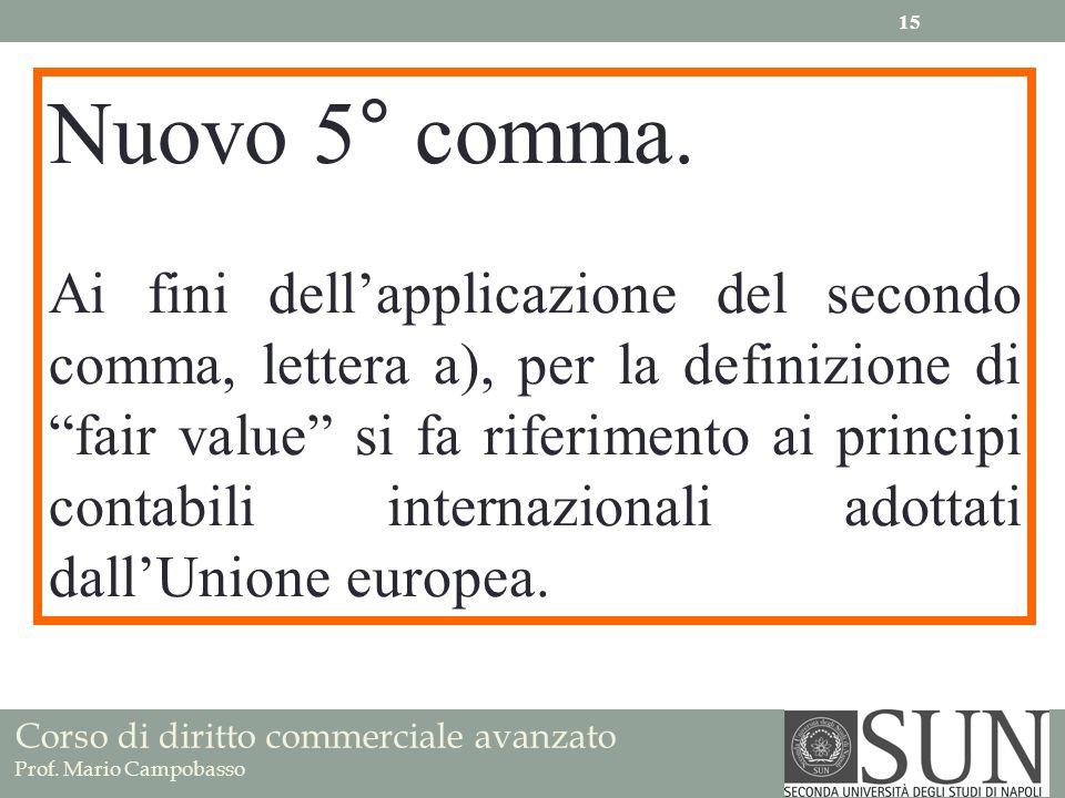 Corso di diritto commerciale avanzato Prof. Mario Campobasso Nuovo 5° comma. Ai fini dellapplicazione del secondo comma, lettera a), per la definizion