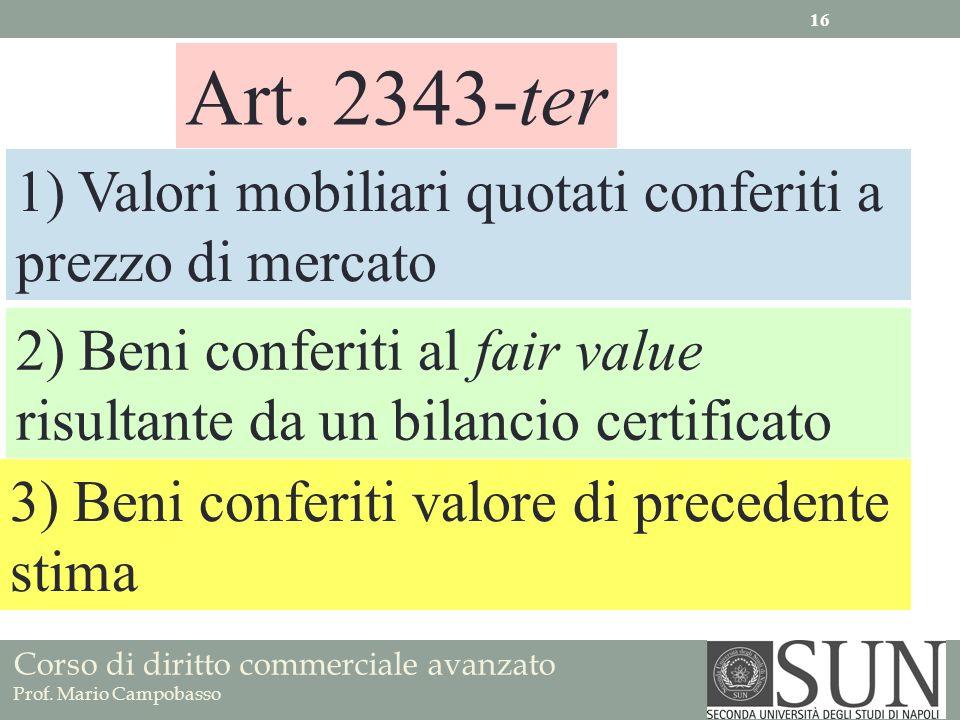Corso di diritto commerciale avanzato Prof. Mario Campobasso Art. 2343-ter 1) Valori mobiliari quotati conferiti a prezzo di mercato 2) Beni conferiti