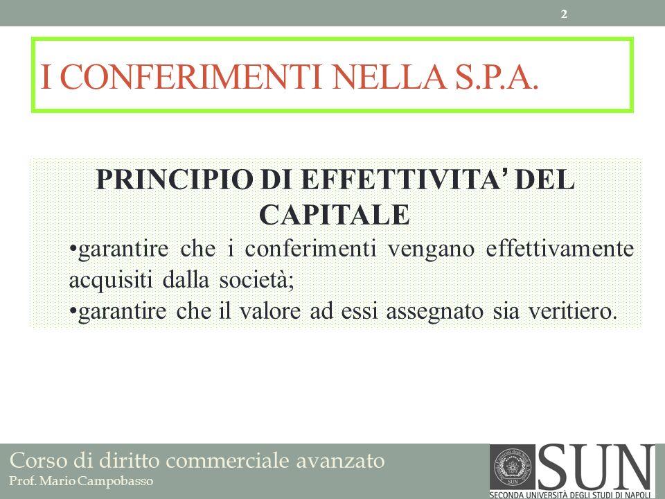 Corso di diritto commerciale avanzato Prof. Mario Campobasso I CONFERIMENTI NELLA S.P.A. PRINCIPIO DI EFFETTIVITA DEL CAPITALE garantire che i conferi