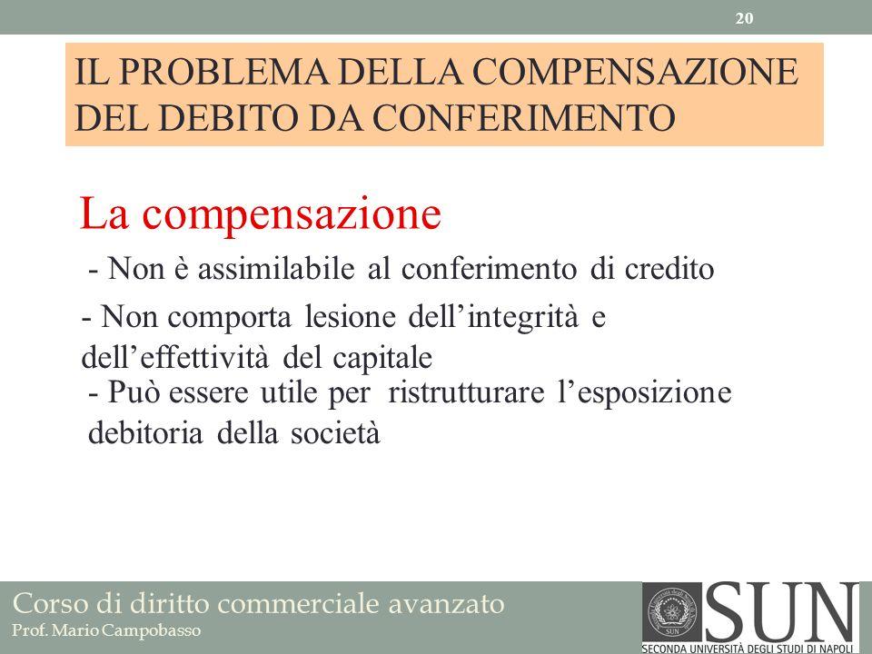 Corso di diritto commerciale avanzato Prof. Mario Campobasso IL PROBLEMA DELLA COMPENSAZIONE DEL DEBITO DA CONFERIMENTO La compensazione - Non è assim