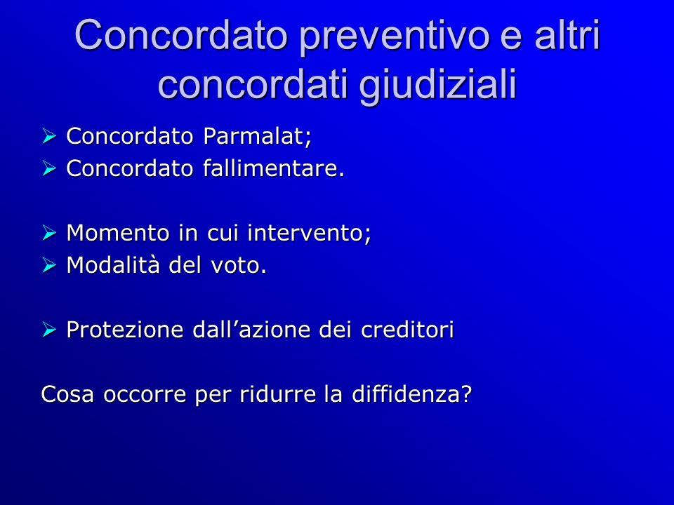 Concordato preventivo e altri concordati giudiziali Concordato Parmalat; Concordato Parmalat; Concordato fallimentare.