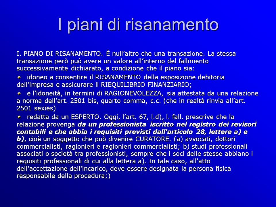 I piani di risanamento I. PIANO DI RISANAMENTO. È nullaltro che una transazione.