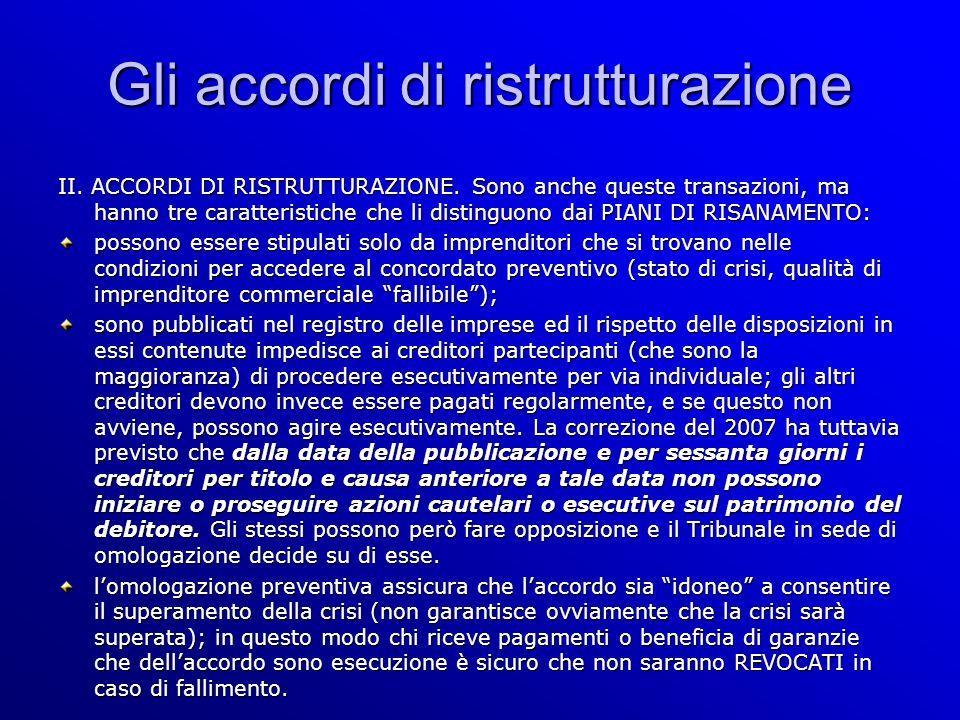 Gli accordi di ristrutturazione II. ACCORDI DI RISTRUTTURAZIONE.