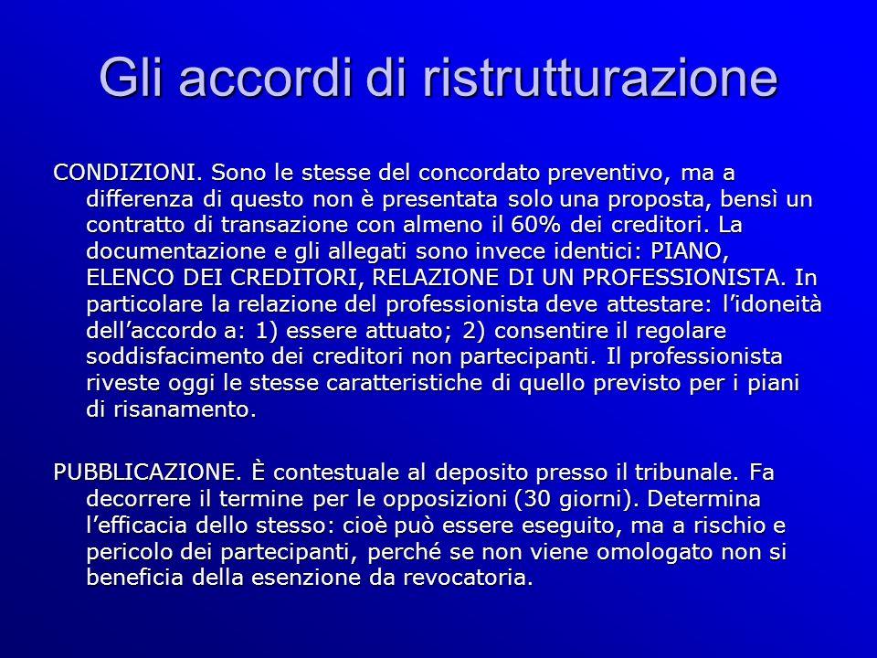 Gli accordi di ristrutturazione CONDIZIONI.