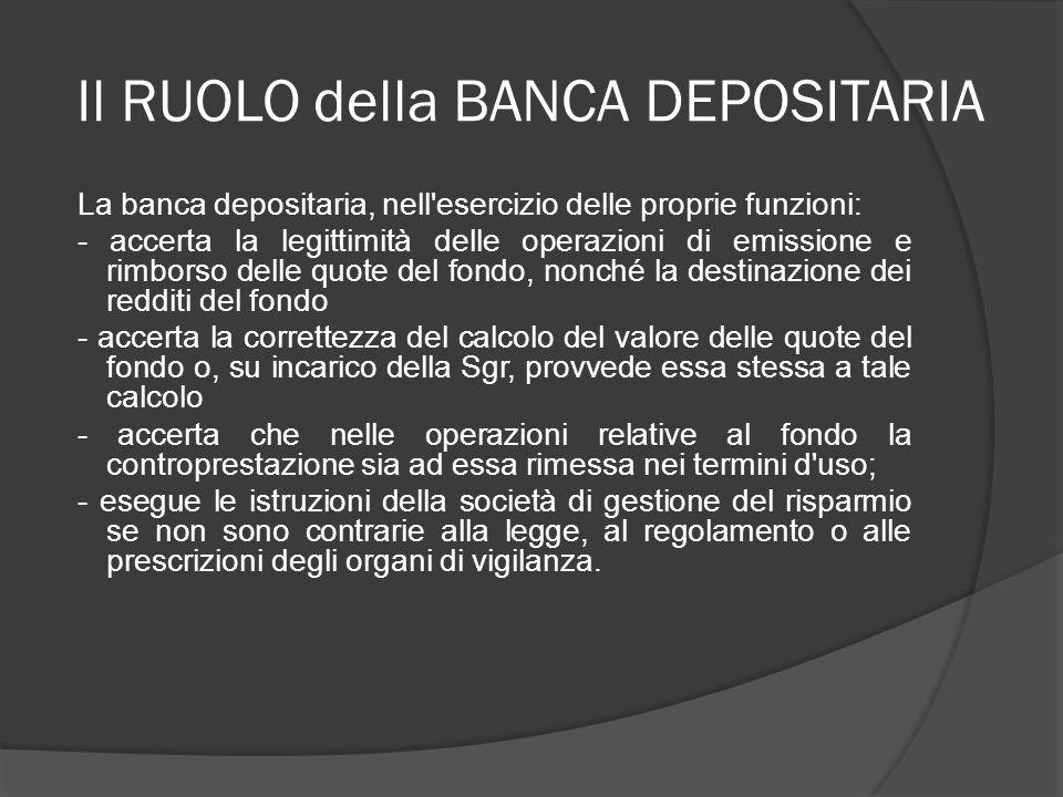 Il RUOLO della BANCA DEPOSITARIA La banca depositaria, nell'esercizio delle proprie funzioni: - accerta la legittimità delle operazioni di emissione e