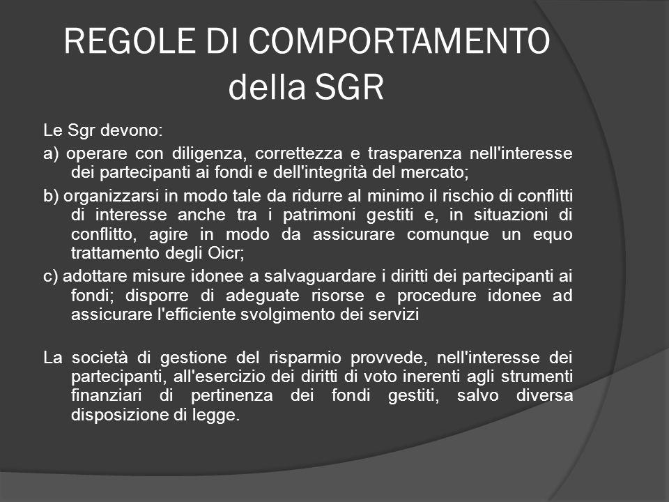 REGOLE DI COMPORTAMENTO della SGR Le Sgr devono: a) operare con diligenza, correttezza e trasparenza nell'interesse dei partecipanti ai fondi e dell'i