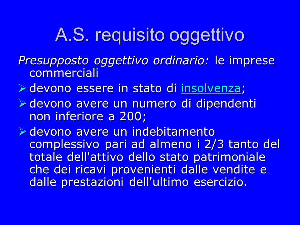 A.S. requisito oggettivo Presupposto oggettivo ordinario: le imprese commerciali devono essere in stato di insolvenza; devono essere in stato di insol