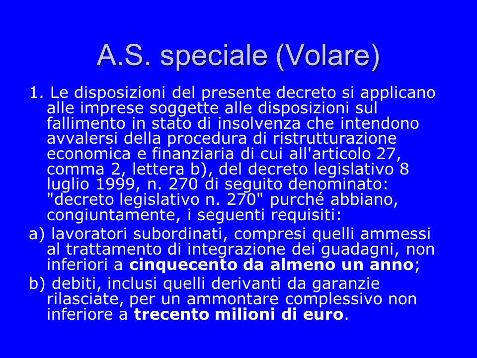 A.S. speciale (Volare) 1. Le disposizioni del presente decreto si applicano alle imprese soggette alle disposizioni sul fallimento in stato di insolve