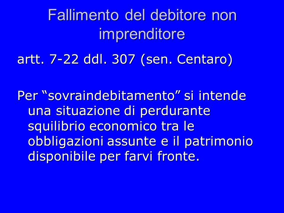 Fallimento del debitore non imprenditore artt. 7-22 ddl. 307 (sen. Centaro) Per sovraindebitamento si intende una situazione di perdurante squilibrio
