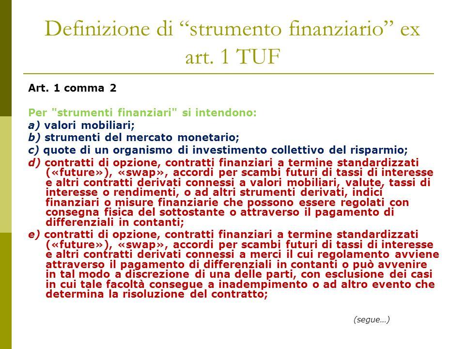 Definizione di strumento finanziario ex art.1 TUF Art.