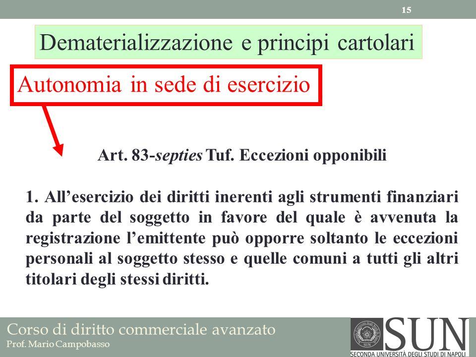 Corso di diritto commerciale avanzato Prof. Mario Campobasso Art. 83-septies Tuf. Eccezioni opponibili 1. Allesercizio dei diritti inerenti agli strum