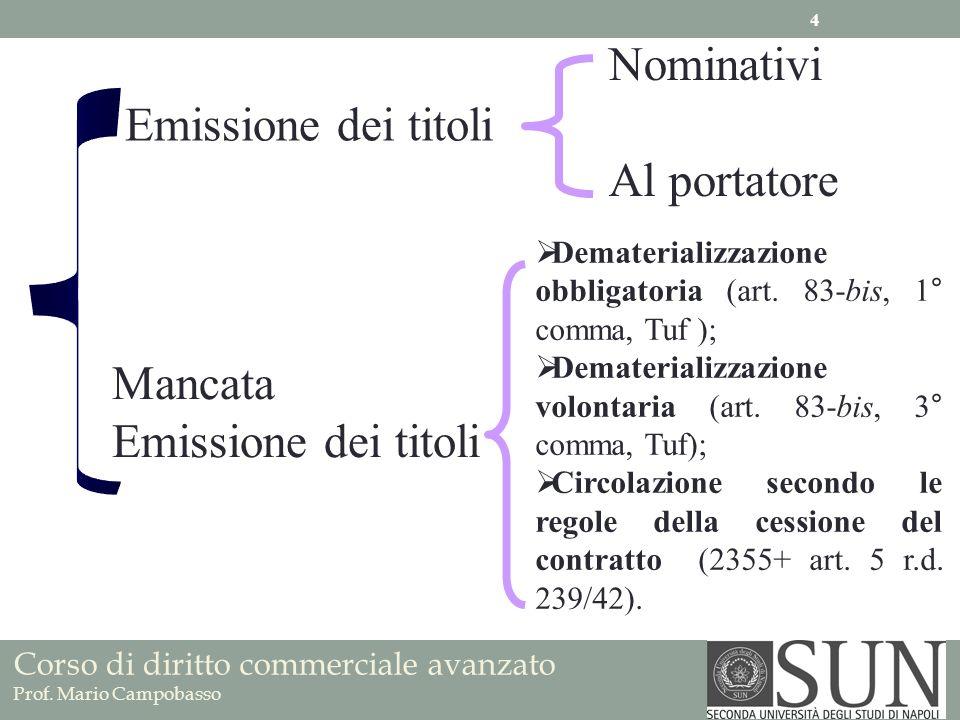 Corso di diritto commerciale avanzato Prof. Mario Campobasso Emissione dei titoli Mancata Emissione dei titoli Nominativi Al portatore Dematerializzaz