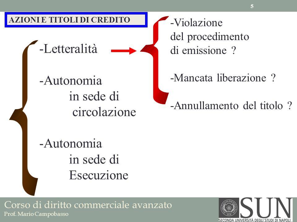Corso di diritto commerciale avanzato Prof. Mario Campobasso AZIONI E TITOLI DI CREDITO -Letteralità -Autonomia in sede di circolazione -Autonomia in