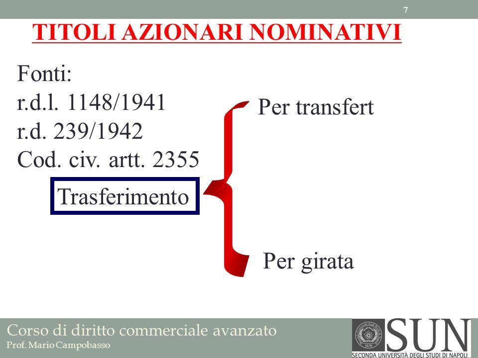 Corso di diritto commerciale avanzato Prof. Mario Campobasso TITOLI AZIONARI NOMINATIVI Fonti: r.d.l. 1148/1941 r.d. 239/1942 Cod. civ. artt. 2355 Per