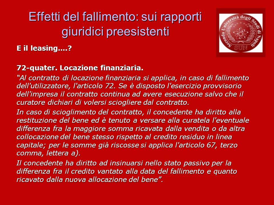 Effetti del fallimento: sui rapporti giuridici preesistenti E il leasing….? 72-quater. Locazione finanziaria. Al contratto di locazione finanziaria si