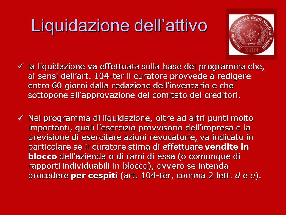 Liquidazione dellattivo la liquidazione va effettuata sulla base del programma che, ai sensi dellart. 104-ter il curatore provvede a redigere entro 60