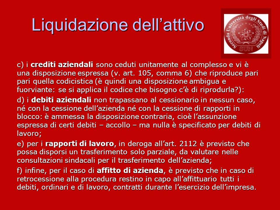 Liquidazione dellattivo c) i crediti aziendali sono ceduti unitamente al complesso e vi è una disposizione espressa (v. art. 105, comma 6) che riprodu